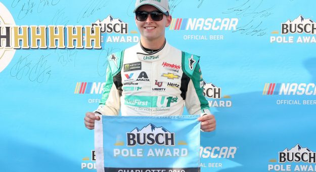 CHARLOTTE, NORTH CAROLINA - SEPTEMBER 27: William Byron, driver of the #24 UniFirst Chevrolet, poses for photos after winning the pole for the Monster Energy NASCAR Cup Series Bank of America ROVAL 400 at Charlotte Motor Speedway on September 27, 2019 in Charlotte, North Carolina. (Photo by Brian Lawdermilk/Getty Images) | Getty Images