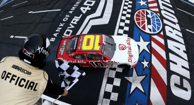 CHARLOTTE, NORTH CAROLINA - SEPTEMBER 28: A J Allmendinger, driver of the #10 Digital Ally Chevrolet, wins the NASCAR Xfinity Series Drive for the Cure 250 presented by Blue Cross Blue Shield of North Carolina at Charlotte Motor Speedway on September 28, 2019 in Charlotte, North Carolina. (Photo by Brian Lawdermilk/Getty Images) | Getty Images