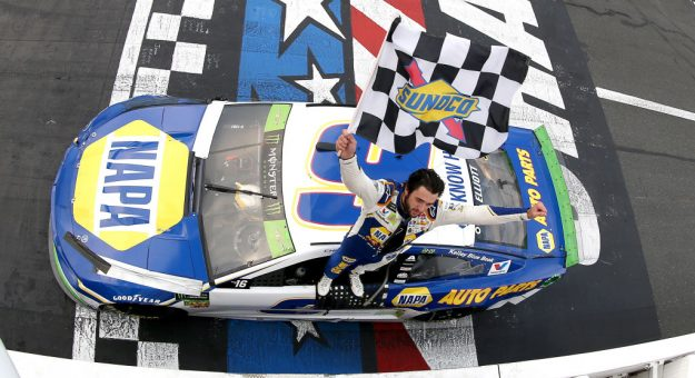 CHARLOTTE, NORTH CAROLINA - SEPTEMBER 29: Chase Elliott, driver of the #9 NAPA Auto Parts Chevrolet, celebrates after winning the Monster Energy NASCAR Cup Series Bank of America ROVAL 400 at Charlotte Motor Speedway on September 29, 2019 in Charlotte, North Carolina. (Photo by Brian Lawdermilk/Getty Images) | Getty Images