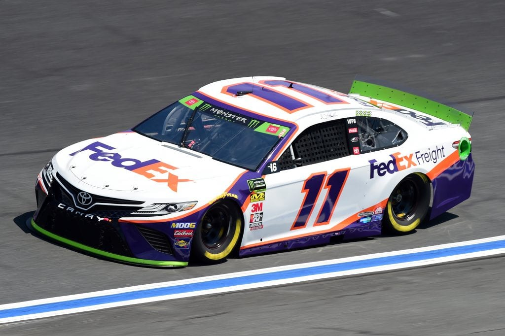 CHARLOTTE, NORTH CAROLINA - SEPTEMBER 27: Denny Hamlin, driver of the #11 FedEx Freight Toyota, practices for the Monster Energy NASCAR Cup Series Bank of America ROVAL 400 at Charlotte Motor Speedway on September 27, 2019 in Charlotte, North Carolina. (Photo by Jared C. Tilton/Getty Images) | Getty Images