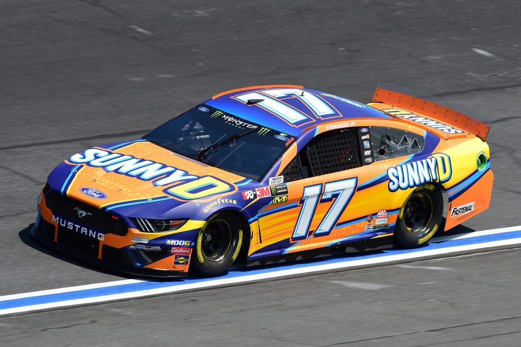 CHARLOTTE, NORTH CAROLINA - SEPTEMBER 27: Ricky Stenhouse Jr., driver of the #17 SunnyD Ford, practices for the Monster Energy NASCAR Cup Series Bank of America ROVAL 400 at Charlotte Motor Speedway on September 27, 2019 in Charlotte, North Carolina. (Photo by Jared C. Tilton/Getty Images) | Getty Images