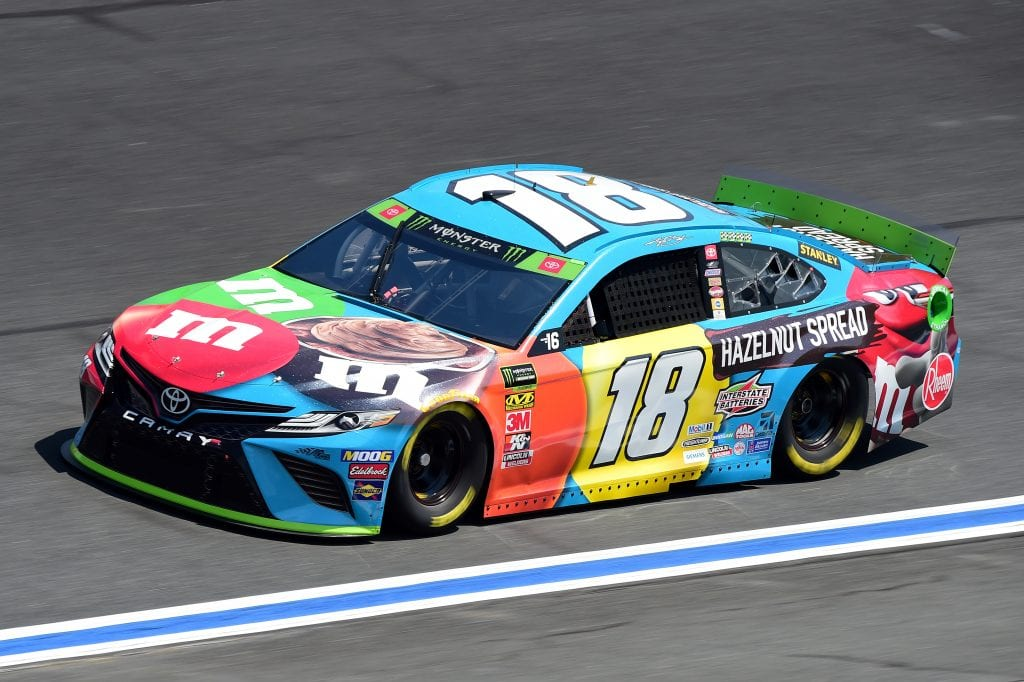 CHARLOTTE, NORTH CAROLINA - SEPTEMBER 27: Kyle Busch, driver of the #18 M&M's Hazelnut Toyota, practices for the Monster Energy NASCAR Cup Series Bank of America ROVAL 400 at Charlotte Motor Speedway on September 27, 2019 in Charlotte, North Carolina. (Photo by Jared C. Tilton/Getty Images) | Getty Images