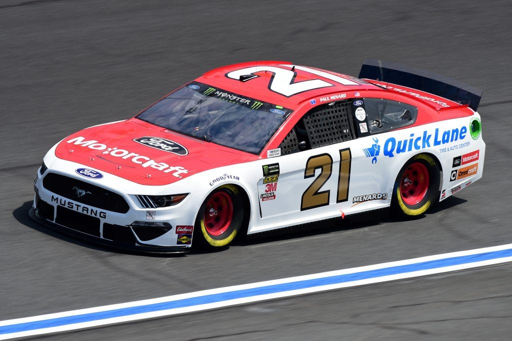 CHARLOTTE, NORTH CAROLINA - SEPTEMBER 27: Paul Menard, driver of the #21 Motorcraft/Quick Lane Tire & Auto Center Ford, practices for the Monster Energy NASCAR Cup Series Bank of America ROVAL 400 at Charlotte Motor Speedway on September 27, 2019 in Charlotte, North Carolina. (Photo by Jared C. Tilton/Getty Images) | Getty Images