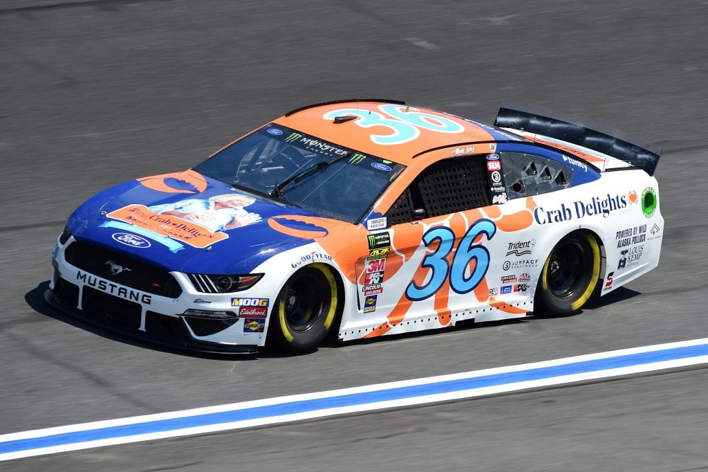 CHARLOTTE, NORTH CAROLINA - SEPTEMBER 27: Matt Tifft, driver of the #36 Louis Kemp Crab Delights Ford, practices for the Monster Energy NASCAR Cup Series Bank of America ROVAL 400 at Charlotte Motor Speedway on September 27, 2019 in Charlotte, North Carolina. (Photo by Jared C. Tilton/Getty Images) | Getty Images