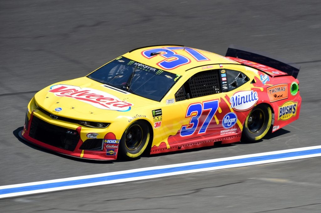 CHARLOTTE, NORTH CAROLINA - SEPTEMBER 27: Chris Buescher, driver of the #37 Velveeta Chevrolet, practices for the Monster Energy NASCAR Cup Series Bank of America ROVAL 400 at Charlotte Motor Speedway on September 27, 2019 in Charlotte, North Carolina. (Photo by Jared C. Tilton/Getty Images) | Getty Images