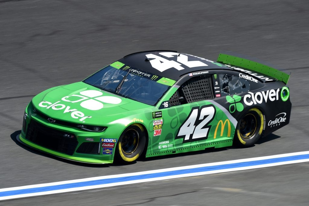 CHARLOTTE, NORTH CAROLINA - SEPTEMBER 27: Kyle Larson, driver of the #42 Clover Chevrolet, practices for the Monster Energy NASCAR Cup Series Bank of America ROVAL 400 at Charlotte Motor Speedway on September 27, 2019 in Charlotte, North Carolina. (Photo by Jared C. Tilton/Getty Images) | Getty Images