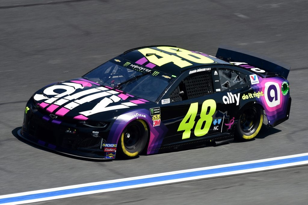 CHARLOTTE, NORTH CAROLINA - SEPTEMBER 27: Jimmie Johnson, driver of the #48 Ally Chevrolet, practices for the Monster Energy NASCAR Cup Series Bank of America ROVAL 400 at Charlotte Motor Speedway on September 27, 2019 in Charlotte, North Carolina. (Photo by Jared C. Tilton/Getty Images) | Getty Images