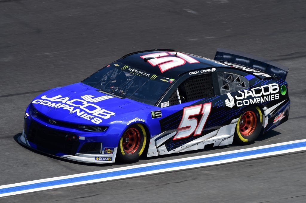 CHARLOTTE, NORTH CAROLINA - SEPTEMBER 27: Cody Ware, driver of the #51 Jacob Companies Chevrolet, practices for the Monster Energy NASCAR Cup Series Bank of America ROVAL 400 at Charlotte Motor Speedway on September 27, 2019 in Charlotte, North Carolina. (Photo by Jared C. Tilton/Getty Images) | Getty Images