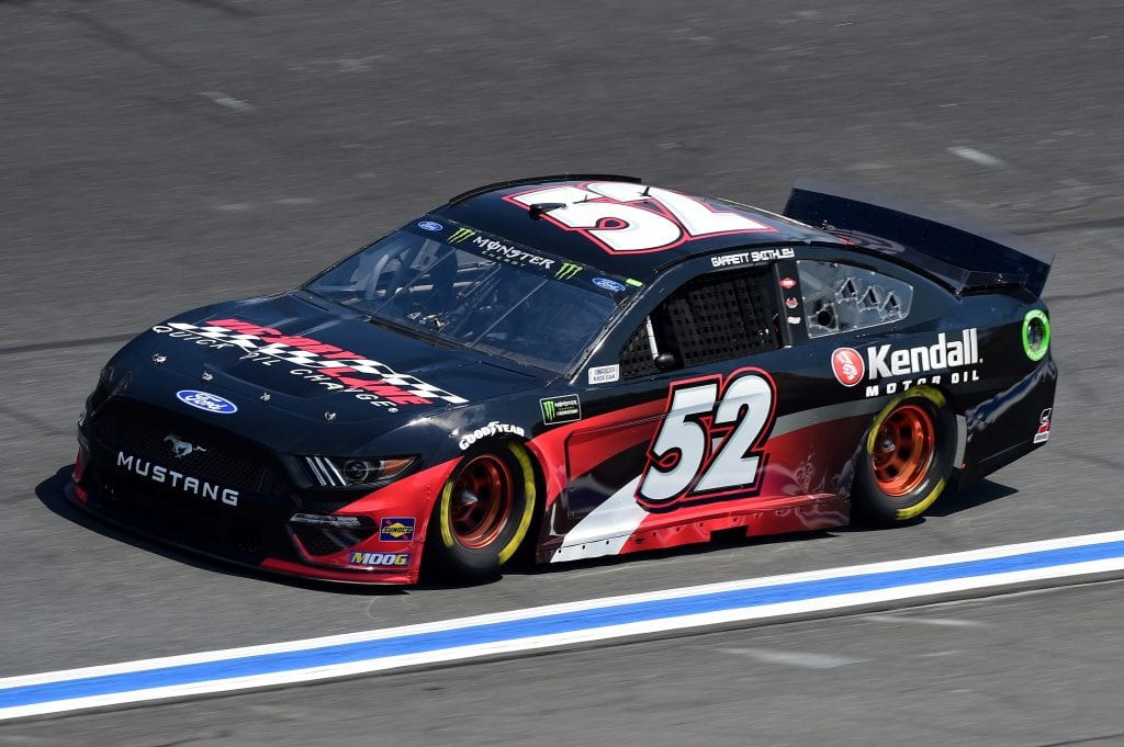 CHARLOTTE, NORTH CAROLINA - SEPTEMBER 27: Garrett Smithley, driver of the #52 Victory Lane/Kendall Oil Ford, practices for the Monster Energy NASCAR Cup Series Bank of America ROVAL 400 at Charlotte Motor Speedway on September 27, 2019 in Charlotte, North Carolina. (Photo by Jared C. Tilton/Getty Images) | Getty Images