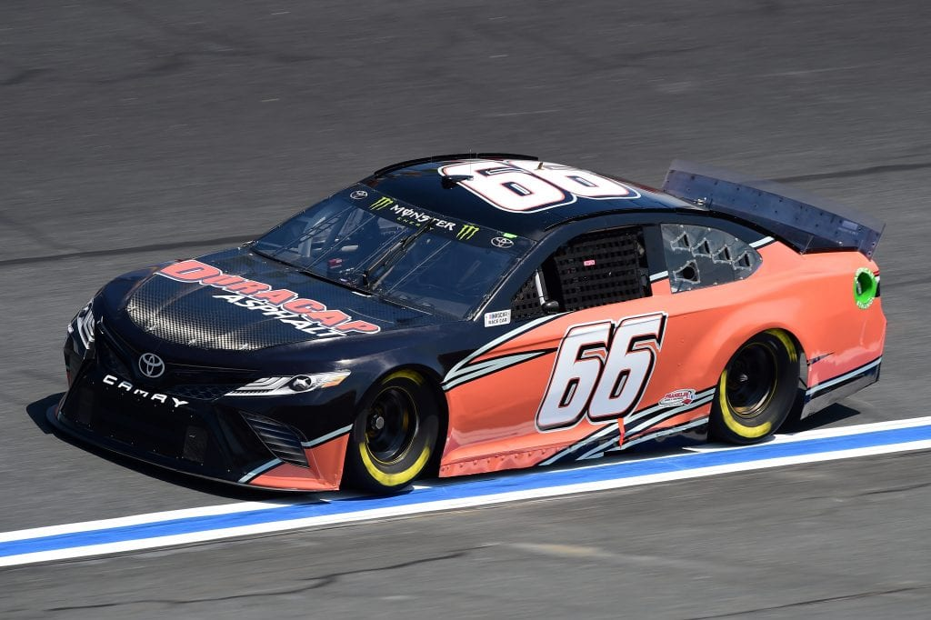 CHARLOTTE, NORTH CAROLINA - SEPTEMBER 27: Timmy Hill, driver of the #66 Duracap Asphalt Toyota, practices for the Monster Energy NASCAR Cup Series Bank of America ROVAL 400 at Charlotte Motor Speedway on September 27, 2019 in Charlotte, North Carolina. (Photo by Jared C. Tilton/Getty Images) | Getty Images