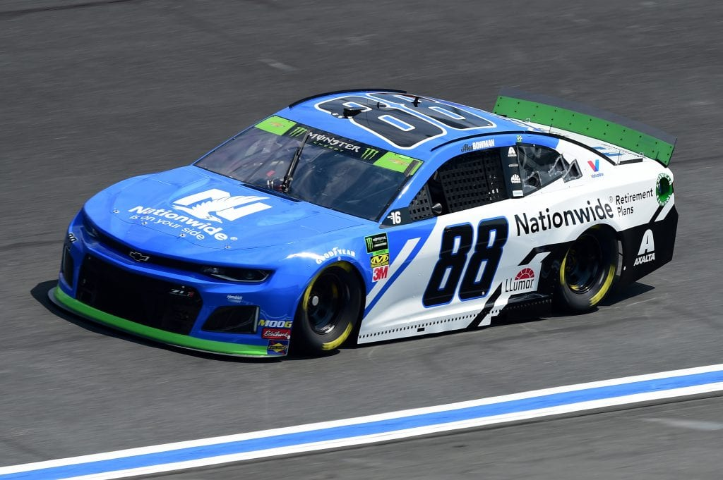 CHARLOTTE, NORTH CAROLINA - SEPTEMBER 27: Alex Bowman, driver of the #88 Nationwide Retirement Plans Chevrolet, practices for the Monster Energy NASCAR Cup Series Bank of America ROVAL 400 at Charlotte Motor Speedway on September 27, 2019 in Charlotte, North Carolina. (Photo by Jared C. Tilton/Getty Images) | Getty Images