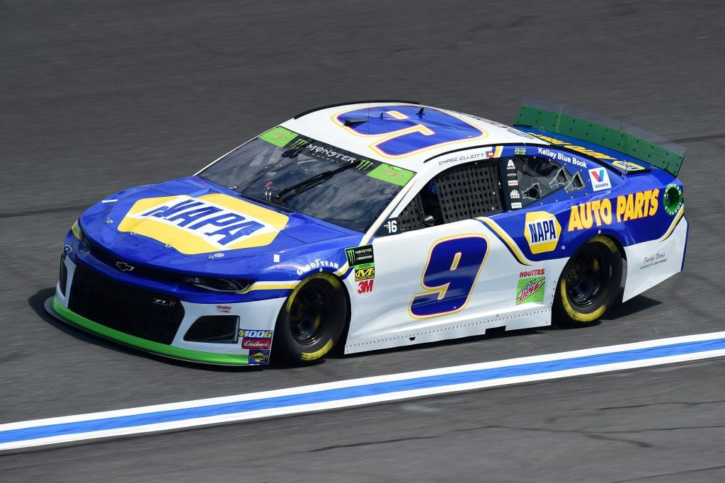 CHARLOTTE, NORTH CAROLINA - SEPTEMBER 27: Chase Elliott, driver of the #9 NAPA Auto Parts Chevrolet, practices for the Monster Energy NASCAR Cup Series Bank of America ROVAL 400 at Charlotte Motor Speedway on September 27, 2019 in Charlotte, North Carolina. (Photo by Jared C. Tilton/Getty Images) | Getty Images
