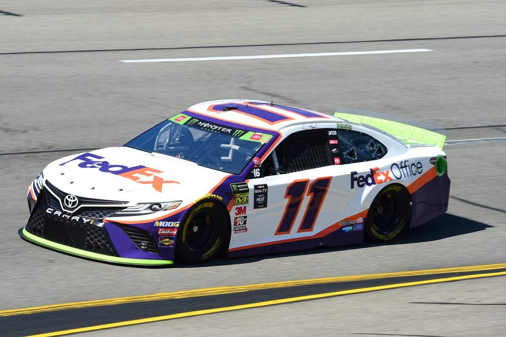 RICHMOND, VIRGINIA - SEPTEMBER 20: Denny Hamlin, driver of the #11 FedEx Office Toyota, practices for the Monster Energy NASCAR Cup Series Federated Auto Parts 400 at Richmond Raceway on September 20, 2019 in Richmond, Virginia. (Photo by Jared C. Tilton/Getty Images) | Getty Images