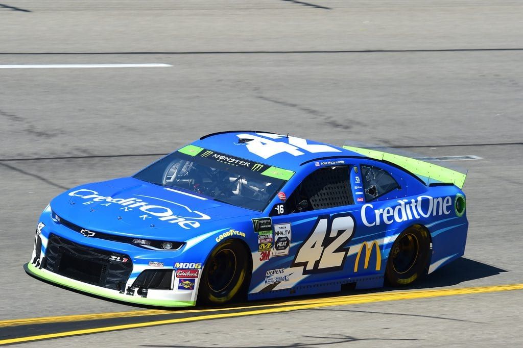 RICHMOND, VIRGINIA - SEPTEMBER 20: Kyle Larson, driver of the #42 Credit One Bank Chevrolet, practices for the Monster Energy NASCAR Cup Series Federated Auto Parts 400 at Richmond Raceway on September 20, 2019 in Richmond, Virginia. (Photo by Jared C. Tilton/Getty Images) | Getty Images