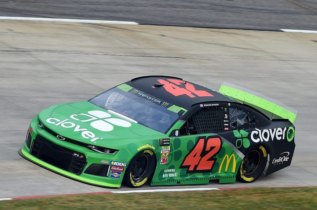 MARTINSVILLE, VIRGINIA - OCTOBER 26: Kyle Larson, driver of the #42 Clover Chevrolet, practices for the Monster Energy NASCAR Cup Series First Data 500 at Martinsville Speedway on October 26, 2019 in Martinsville, Virginia. (Photo by Jared C. Tilton/Getty Images) | Getty Images