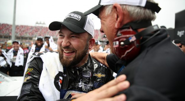 TALLADEGA, ALABAMA - OCTOBER 12: Spencer Boyd, driver of the #20 Alabama Roofing Professionals Chevrolet, celebrates in victory lane after winning the NASCAR Gander Outdoor Truck Series Sugarlands Shine 250 at Talladega Superspeedway on October 12, 2019 in Talladega, Alabama. (Photo by Chris Graythen/Getty Images) | Getty Images