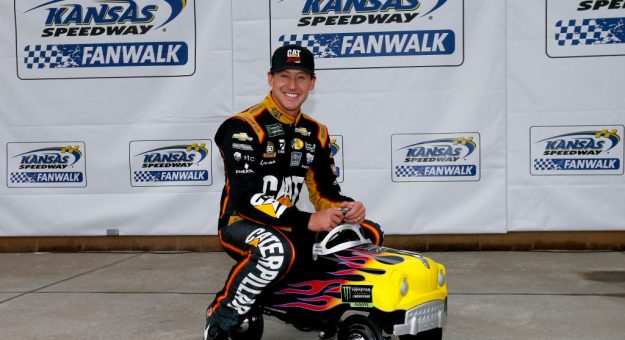 KANSAS CITY, KANSAS - OCTOBER 19: Daniel Hemric, driver of the #8 Caterpillar Chevrolet,  poses with a pole award pedal car after qualifying for the Monster Energy NASCAR Cup Series Hollywood Casino 400 at Kansas Speedway on October 19, 2019 in Kansas City, Kansas. (Photo by Jonathan Ferrey/Getty Images)   Getty Images