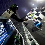 MARTINSVILLE, VIRGINIA - OCTOBER 27: Martin Truex Jr, driver of the #19 Auto Owners Insurance Toyota, takes the checkered flag to win the Monster Energy NASCAR Cup Series First Data 500 at Martinsville Speedway on October 27, 2019 in Martinsville, Virginia. (Photo by Jared C. Tilton/Getty Images) | Getty Images