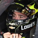FONTANA, CA - MARCH 16:  Jimmie Johnson, driver of the #48 Lowe's for Pros Chevrolet, straps on his helmet during practice for the Monster Energy NASCAR Cup Series Auto Club 400 at Auto Club Speedway on March 16, 2018 in Fontana, California.  (Photo by Josh Hedges/Getty Images) | Getty Images