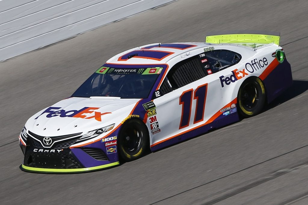 KANSAS CITY, KANSAS - OCTOBER 18: Denny Hamlin, driver of the #11 FedEx Office Toyota, practices for the Monster Energy NASCAR Cup Series Hollywood Casino 400 at Kansas Speedway on October 18, 2019 in Kansas City, Kansas. (Photo by Jonathan Ferrey/Getty Images) | Getty Images