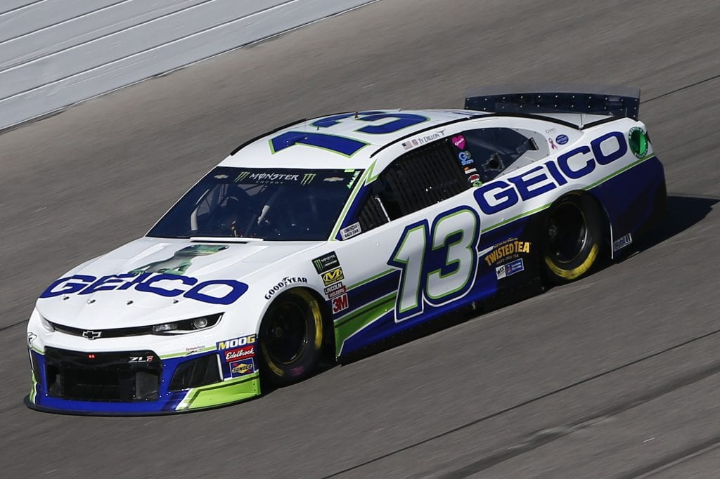 KANSAS CITY, KANSAS - OCTOBER 18: Ty Dillon, driver of the #13 GEICO Chevrolet, practices for the Monster Energy NASCAR Cup Series Hollywood Casino 400 at Kansas Speedway on October 18, 2019 in Kansas City, Kansas. (Photo by Jonathan Ferrey/Getty Images) | Getty Images