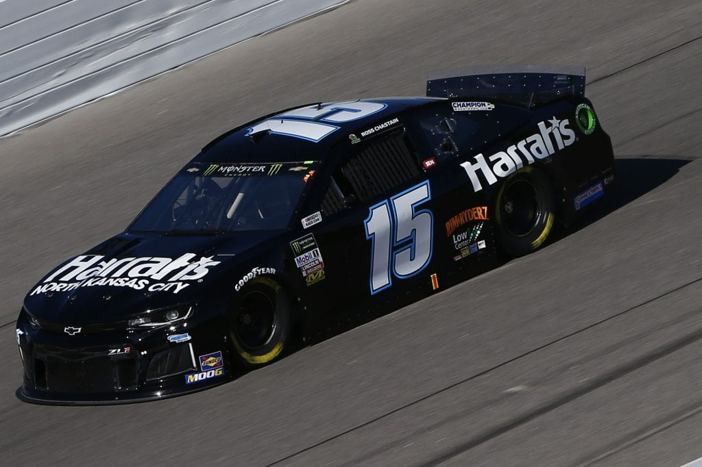 KANSAS CITY, KANSAS - OCTOBER 18: Ross Chastain, driver of the #15 Harrah's North Kansas City Chevrolet, practices for the Monster Energy NASCAR Cup Series Hollywood Casino 400 at Kansas Speedway on October 18, 2019 in Kansas City, Kansas. (Photo by Jonathan Ferrey/Getty Images) | Getty Images
