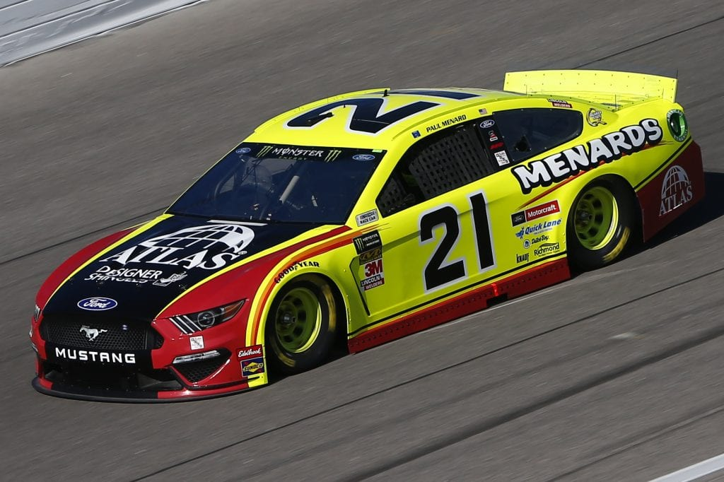KANSAS CITY, KANSAS - OCTOBER 18: Paul Menard, driver of the #21 Menards/Atlas Ford, practices for the Monster Energy NASCAR Cup Series Hollywood Casino 400 at Kansas Speedway on October 18, 2019 in Kansas City, Kansas. (Photo by Jonathan Ferrey/Getty Images) | Getty Images