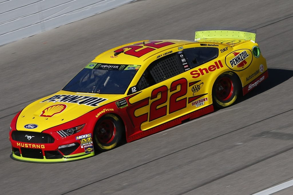 KANSAS CITY, KANSAS - OCTOBER 18: Joey Logano, driver of the #22 Shell Pennzoil Ford, practices for the Monster Energy NASCAR Cup Series Hollywood Casino 400 at Kansas Speedway on October 18, 2019 in Kansas City, Kansas. (Photo by Jonathan Ferrey/Getty Images) | Getty Images