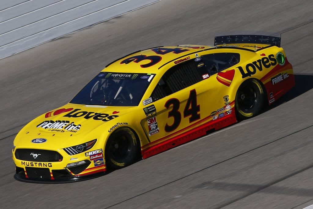 KANSAS CITY, KANSAS - OCTOBER 18: Michael McDowell, driver of the #34 Love's Travel Stops Ford, practices for the Monster Energy NASCAR Cup Series Hollywood Casino 400 at Kansas Speedway on October 18, 2019 in Kansas City, Kansas. (Photo by Jonathan Ferrey/Getty Images) | Getty Images