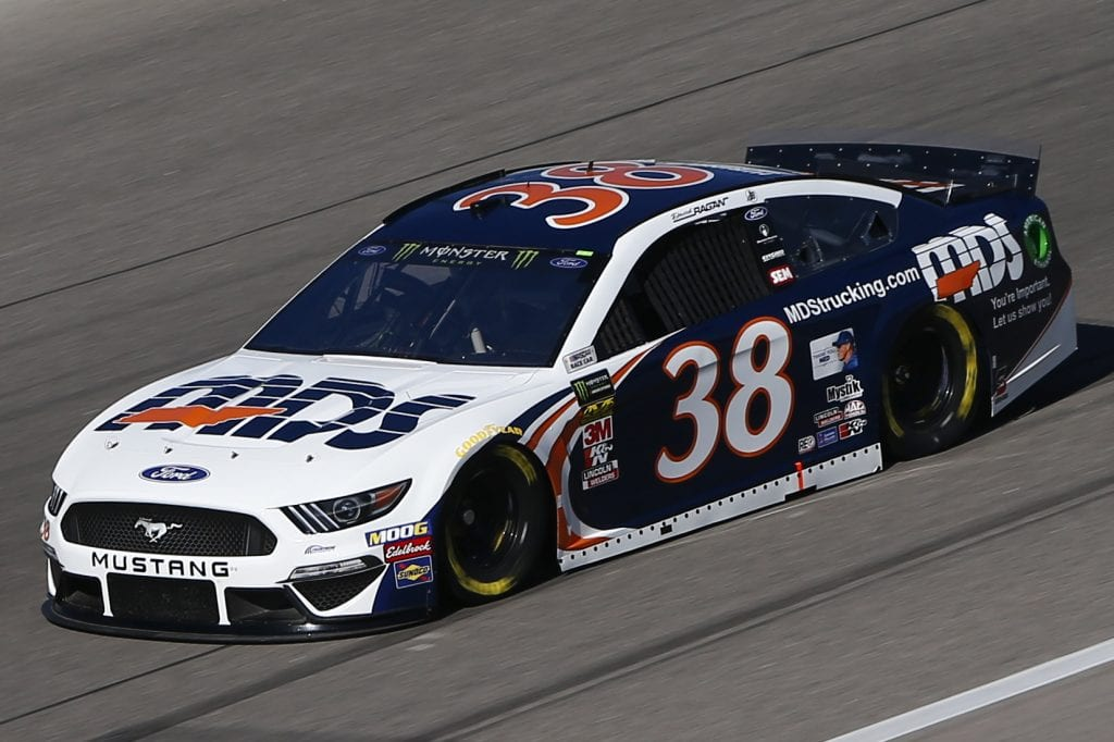 KANSAS CITY, KANSAS - OCTOBER 18: David Ragan, driver of the #38 MDS Ford, practices for the Monster Energy NASCAR Cup Series Hollywood Casino 400 at Kansas Speedway on October 18, 2019 in Kansas City, Kansas. (Photo by Jonathan Ferrey/Getty Images) | Getty Images