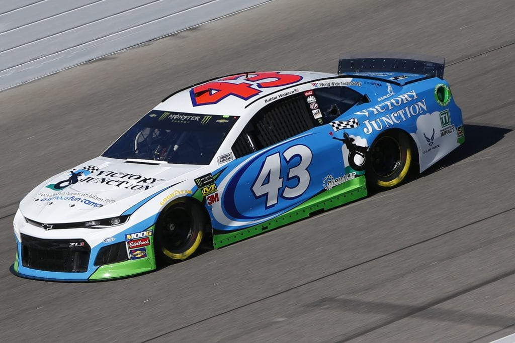 KANSAS CITY, KANSAS - OCTOBER 18: Bubba Wallace, driver of the #43 Victory Junction Chevrolet, practices for the Monster Energy NASCAR Cup Series Hollywood Casino 400 at Kansas Speedway on October 18, 2019 in Kansas City, Kansas. (Photo by Jonathan Ferrey/Getty Images) | Getty Images