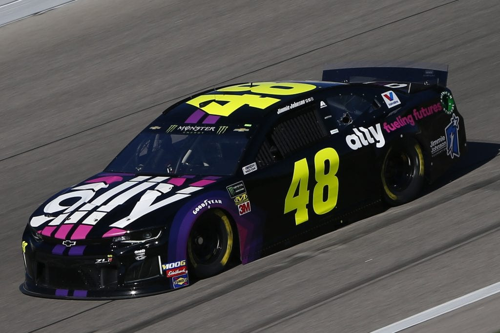 KANSAS CITY, KANSAS - OCTOBER 18: Jimmie Johnson, driver of the #48 Ally Fueling Futures Chevrolet, practices for the Monster Energy NASCAR Cup Series Hollywood Casino 400 at Kansas Speedway on October 18, 2019 in Kansas City, Kansas. (Photo by Jonathan Ferrey/Getty Images) | Getty Images