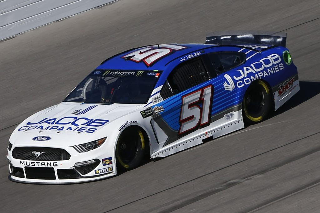 KANSAS CITY, KANSAS - OCTOBER 18: JJ Yeley, driver of the #51 Jacob Companies Ford, practices for the Monster Energy NASCAR Cup Series Hollywood Casino 400 at Kansas Speedway on October 18, 2019 in Kansas City, Kansas. (Photo by Jonathan Ferrey/Getty Images) | Getty Images