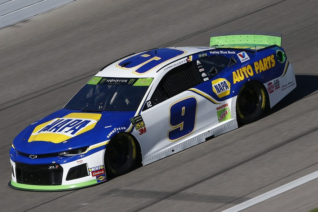 KANSAS CITY, KANSAS - OCTOBER 18: Chase Elliott, driver of the #9 NAPA Auto Parts Chevrolet, practices for the Monster Energy NASCAR Cup Series Hollywood Casino 400 at Kansas Speedway on October 18, 2019 in Kansas City, Kansas. (Photo by Jonathan Ferrey/Getty Images) | Getty Images
