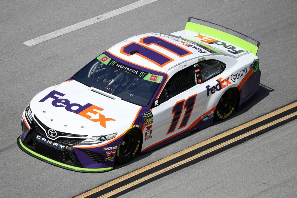 TALLADEGA, ALABAMA - OCTOBER 11: Denny Hamlin, driver of the #11 FedEx Ground Toyota, during practice for the Monster Energy NASCAR Cup Series 1000Bulbs.com 500 at Talladega Superspeedway on October 11, 2019 in Talladega, Alabama. (Photo by Chris Graythen/Getty Images) | Getty Images