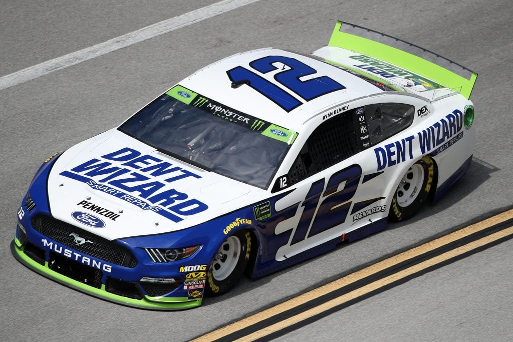 TALLADEGA, ALABAMA - OCTOBER 11: Ryan Blaney, driver of the #12 Dent Wizard Ford, during practice for the Monster Energy NASCAR Cup Series 1000Bulbs.com 500 at Talladega Superspeedway on October 11, 2019 in Talladega, Alabama. (Photo by Chris Graythen/Getty Images) | Getty Images