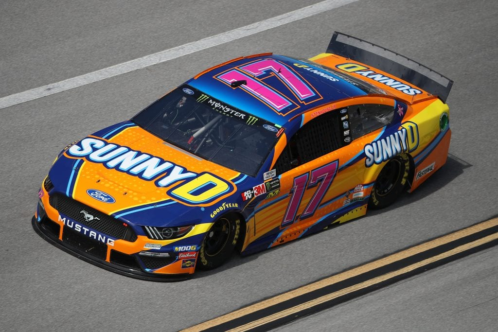 TALLADEGA, ALABAMA - OCTOBER 11: Ricky Stenhouse Jr, driver of the #17 SunnyD Ford, during practice for the Monster Energy NASCAR Cup Series 1000Bulbs.com 500 at Talladega Superspeedway on October 11, 2019 in Talladega, Alabama. (Photo by Chris Graythen/Getty Images) | Getty Images