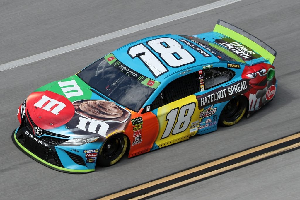 TALLADEGA, ALABAMA - OCTOBER 11: Kyle Busch, driver of the #18 M&M's Hazelnut Toyota, during practice for the Monster Energy NASCAR Cup Series 1000Bulbs.com 500 at Talladega Superspeedway on October 11, 2019 in Talladega, Alabama. (Photo by Chris Graythen/Getty Images) | Getty Images