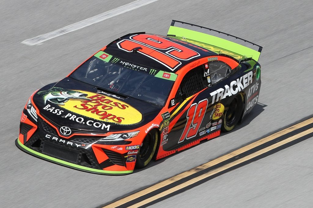 TALLADEGA, ALABAMA - OCTOBER 11: Martin Truex Jr, driver of the #19 Bass Pro Shops Toyota, during practice for the Monster Energy NASCAR Cup Series 1000Bulbs.com 500 at Talladega Superspeedway on October 11, 2019 in Talladega, Alabama. (Photo by Chris Graythen/Getty Images) | Getty Images