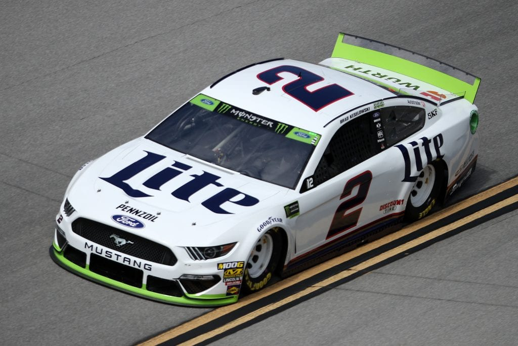 TALLADEGA, ALABAMA - OCTOBER 11: Brad Keselowski, driver of the #2 Miller Lite Ford, during practice for the Monster Energy NASCAR Cup Series 1000Bulbs.com 500 at Talladega Superspeedway on October 11, 2019 in Talladega, Alabama. (Photo by Chris Graythen/Getty Images) | Getty Images
