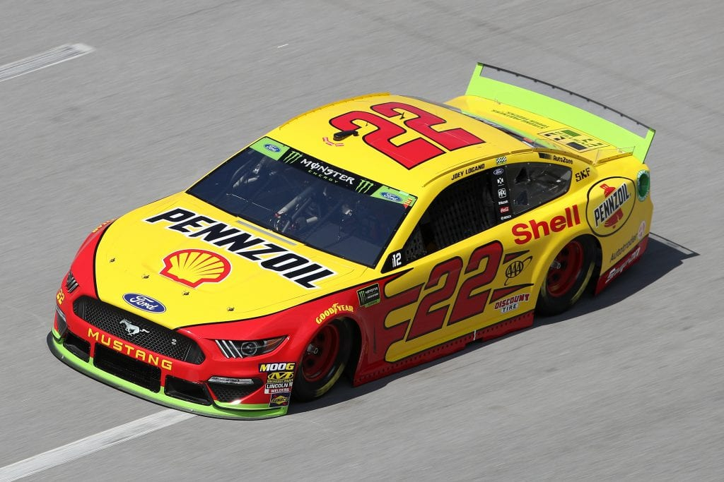 TALLADEGA, ALABAMA - OCTOBER 11: Joey Logano, driver of the #22 Shell Pennzoil Ford,during practice for the Monster Energy NASCAR Cup Series 1000Bulbs.com 500 at Talladega Superspeedway on October 11, 2019 in Talladega, Alabama. (Photo by Chris Graythen/Getty Images) | Getty Images