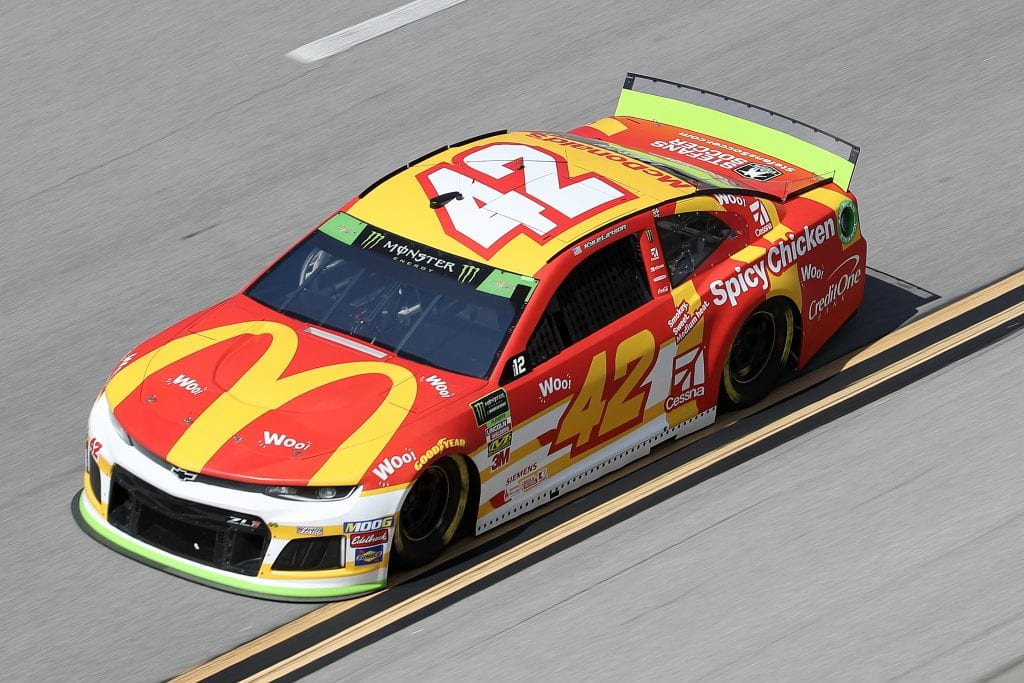TALLADEGA, ALABAMA - OCTOBER 11: Kyle Larson, driver of the #42 McDonald's Chevrolet,during practice for the Monster Energy NASCAR Cup Series 1000Bulbs.com 500 at Talladega Superspeedway on October 11, 2019 in Talladega, Alabama. (Photo by Chris Graythen/Getty Images) | Getty Images