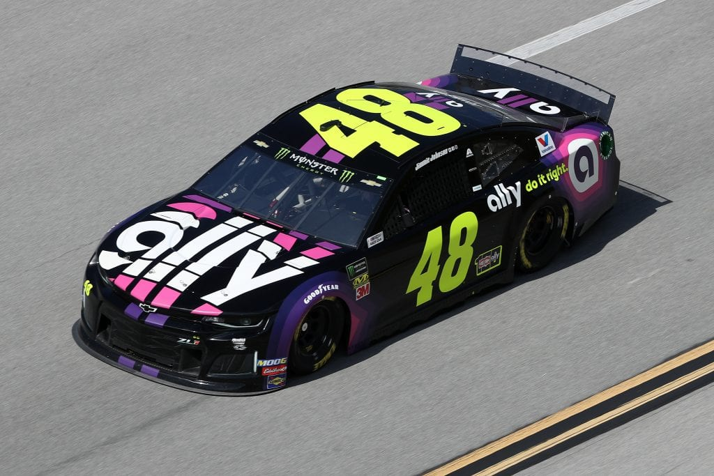 TALLADEGA, ALABAMA - OCTOBER 11: Jimmie Johnson, driver of the #48 Ally Chevrolet, during practice for the Monster Energy NASCAR Cup Series 1000Bulbs.com 500 at Talladega Superspeedway on October 11, 2019 in Talladega, Alabama. (Photo by Chris Graythen/Getty Images) | Getty Images