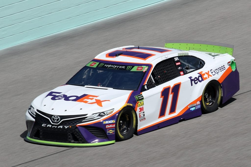 HOMESTEAD, FLORIDA - NOVEMBER 16: Denny Hamlin, driver of the #11 FedEx Express Toyota, drives during practice for the Monster Energy NASCAR Cup Series Ford EcoBoost 400 at Homestead-Miami Speedway on November 16, 2019 in Homestead, Florida. (Photo by Chris Graythen/Getty Images) | Getty Images