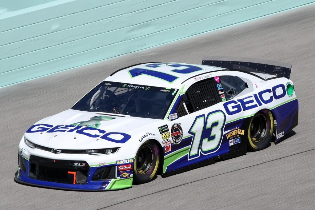 HOMESTEAD, FLORIDA - NOVEMBER 16: Ty Dillon, driver of the #13 GEICO Chevrolet, drives during practice for the Monster Energy NASCAR Cup Series Ford EcoBoost 400 at Homestead-Miami Speedway on November 16, 2019 in Homestead, Florida. (Photo by Chris Graythen/Getty Images)   Getty Images