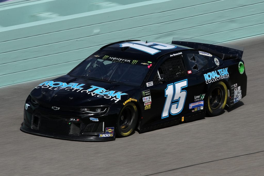 HOMESTEAD, FLORIDA - NOVEMBER 16: Joe Nemechek, driver of the #15 RoyalTeakCollection.com Chevrolet, drives during practice for the Monster Energy NASCAR Cup Series Ford EcoBoost 400 at Homestead-Miami Speedway on November 16, 2019 in Homestead, Florida. (Photo by Chris Graythen/Getty Images) | Getty Images