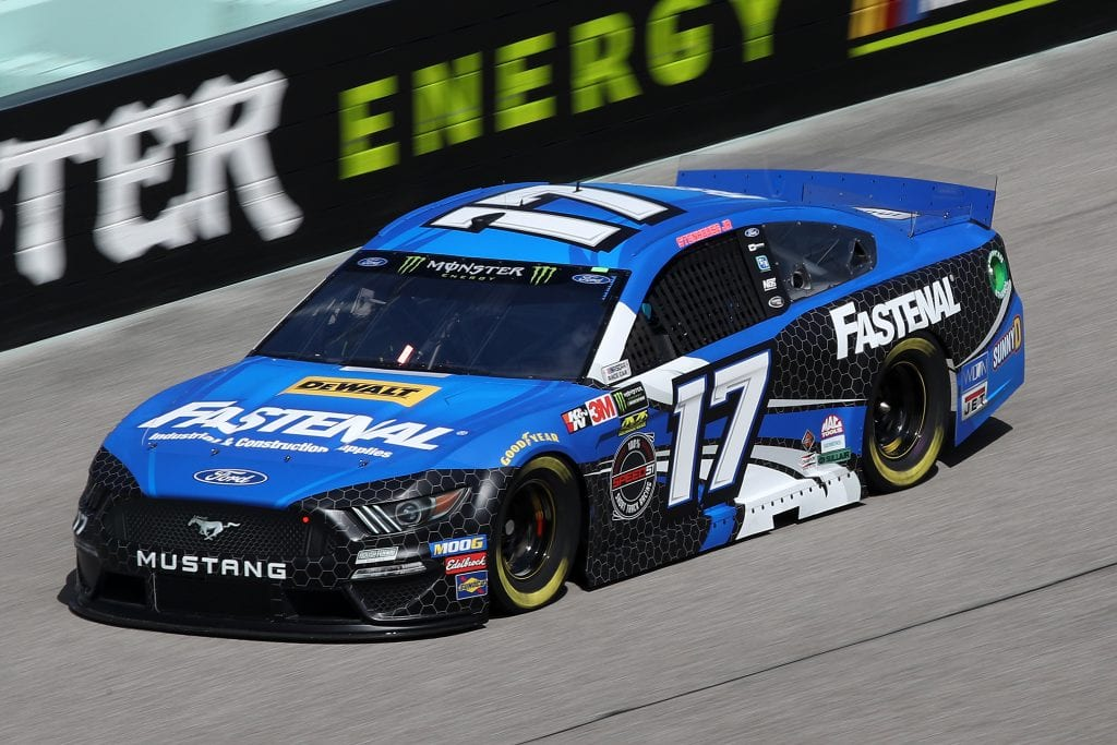 HOMESTEAD, FLORIDA - NOVEMBER 16: Ricky Stenhouse Jr., driver of the #17 Fastenal Ford, drives during practice for the Monster Energy NASCAR Cup Series Ford EcoBoost 400 at Homestead-Miami Speedway on November 16, 2019 in Homestead, Florida. (Photo by Chris Graythen/Getty Images) | Getty Images