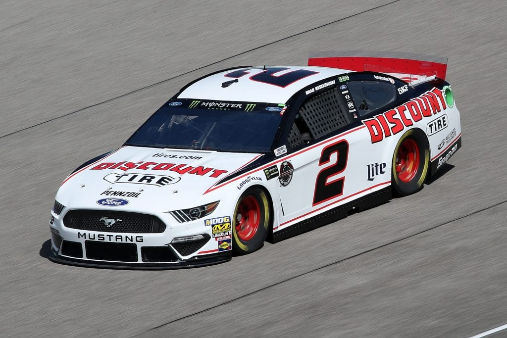 HOMESTEAD, FLORIDA - NOVEMBER 16: Brad Keselowski, driver of the #2 Discount Tire Ford, drives during practice for the Monster Energy NASCAR Cup Series Ford EcoBoost 400 at Homestead-Miami Speedway on November 16, 2019 in Homestead, Florida. (Photo by Chris Graythen/Getty Images) | Getty Images