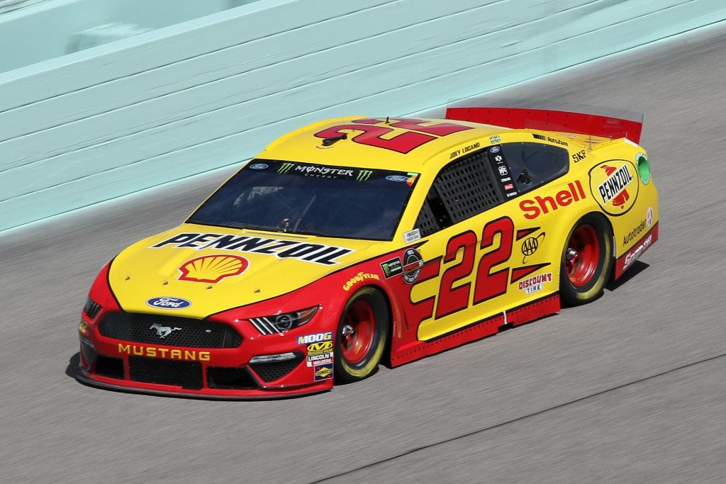 HOMESTEAD, FLORIDA - NOVEMBER 16: Joey Logano, driver of the #22 Shell Pennzoil Ford, drives during practice for the Monster Energy NASCAR Cup Series Ford EcoBoost 400 at Homestead-Miami Speedway on November 16, 2019 in Homestead, Florida. (Photo by Chris Graythen/Getty Images) | Getty Images