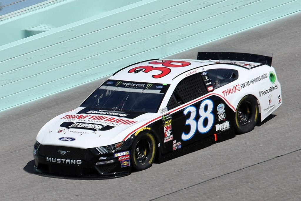 HOMESTEAD, FLORIDA - NOVEMBER 16: David Ragan, driver of the #38 Thank You David Ford, drives during practice for the Monster Energy NASCAR Cup Series Ford EcoBoost 400 at Homestead-Miami Speedway on November 16, 2019 in Homestead, Florida. (Photo by Chris Graythen/Getty Images) | Getty Images